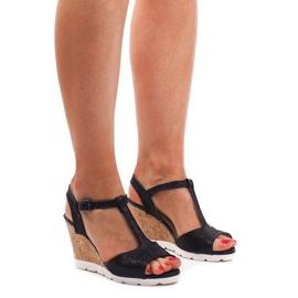 Sandales compensées YH2709 Noir