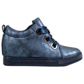 New Tlck Chaussures nouées avec un ruban bleu