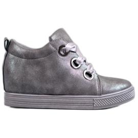 New Tlck Chaussures nouées avec un ruban gris