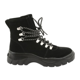 Chaussure trapèze noire nouée Sergio Leone 729