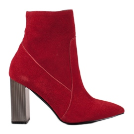 Goodin Bottes en cuir sexy rouge