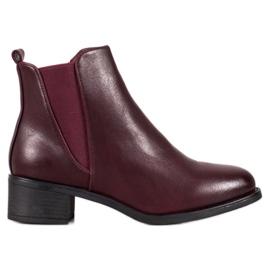 Ideal Shoes Bottes classiques avec bande élastique rouge