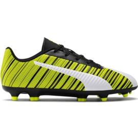 Puma One 5.4 Fg Ag Jr 105660 03 chaussures de football blanc, noir, jaune jaune