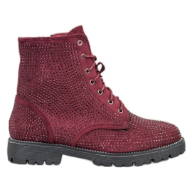 Sweet Shoes Bottines en daim bordeaux rouge
