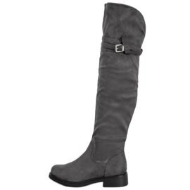 Ideal Shoes Cuissardes élégantes avec une boucle gris