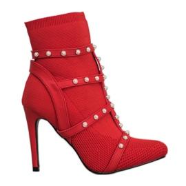 Bestelle Bottines à enfiler avec perles rouge