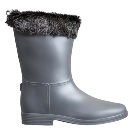 SHELOVET Wellington avec fourrure gris
