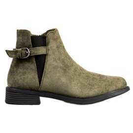 Ideal Shoes Bottes en daim vert