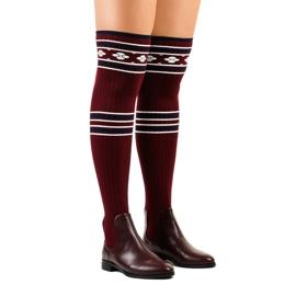 Cuissardes chaussette marron 29-7 rouge