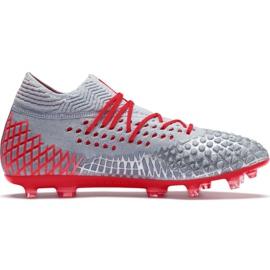 Chaussures de football Puma Future 4.1 Netfit Fg Ag M 105579 01 rouge, gris / argent gris