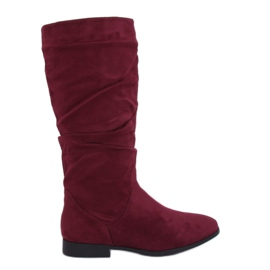 M629 Bottines à talon plat Wine rouge