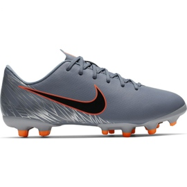 Chaussures de football Nike Mercurial Vapor 12 Academy Mg Jr AH7347 408 orange, gris / argent gris