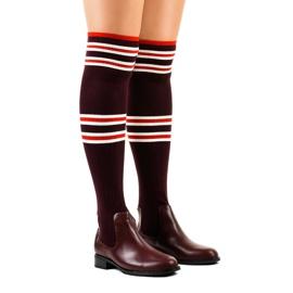 Chaussettes cuissardes bordeaux FD-69 rouge