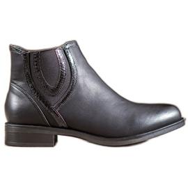 Small Swan Bottes noires avec cuir écologique