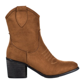 Super Mode Bottes Cowboy Marron brun