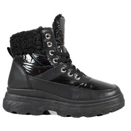 Bella Paris Sneakers en peau de mouton noir