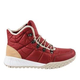 Chaussures à lacets isolées rouges F118-1