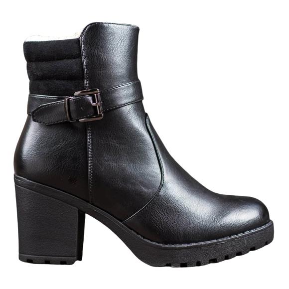 J. Star Bottes confortables en cuir écologique noir