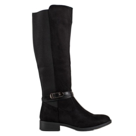 Ideal Shoes Bottes en daim noir