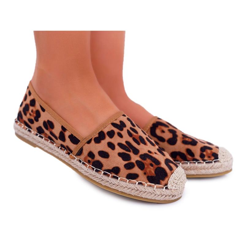 NFR Espadrilles Femme Slip-on Suede Leopard Jungle brun