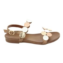 Sandales dorées Daszyński MR1958-1 brun argent