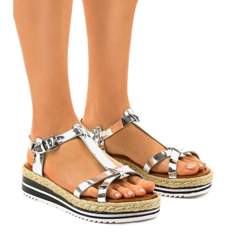 Espadrilles plates argentées 955-6 sandales gris