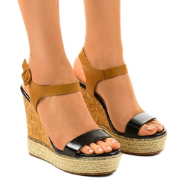 Sandales noires sur espadrilles VB76063 talons compensés