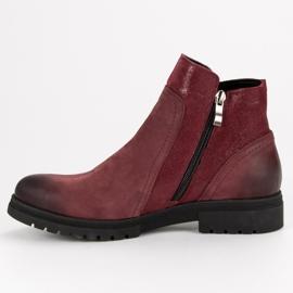 Bottes VINCEZA en cuir confortables rouge 4