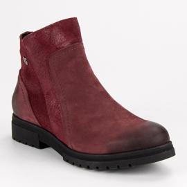 Bottes VINCEZA en cuir confortables rouge 3