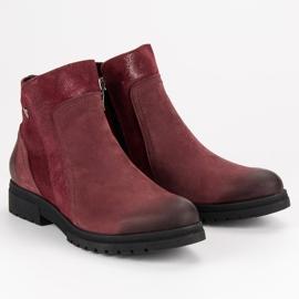 Bottes VINCEZA en cuir confortables rouge 6
