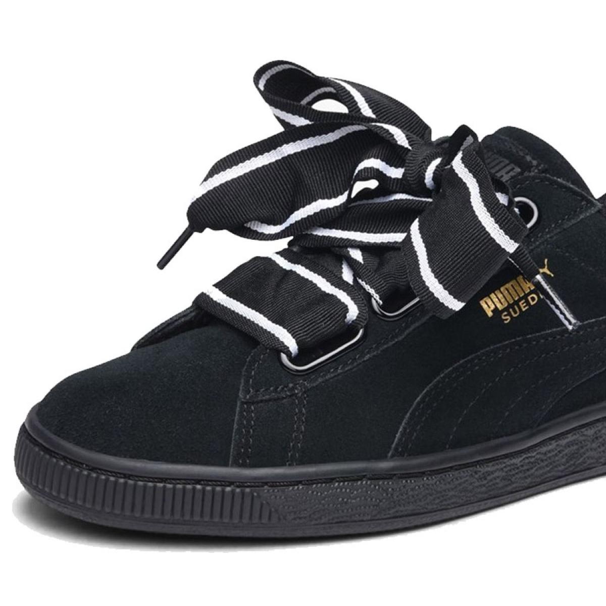 Noir Puma Heart 01 364084 Suede Satin W Chaussures Ii ulJ3KTcF1
