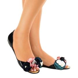 Sandales Meliski noires avec fleurs AE20 1