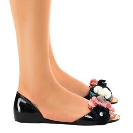 Sandales Meliski noires avec fleurs AE20 2