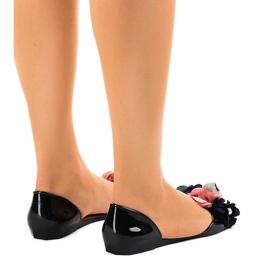 Sandales Meliski noires avec fleurs AE20 3
