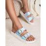 Ideal Shoes Pantoufles avec boucle holo gris 2