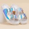 Ideal Shoes Pantoufles avec boucle holo gris 5