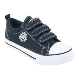 American Club Sneakers enfant américain avec velcro LH33 blanc marine 1