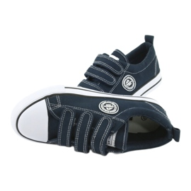 American Club Sneakers enfant américain avec velcro LH33 blanc marine 4