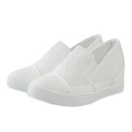 Baskets compensées ajourées blanches DD441-2 3
