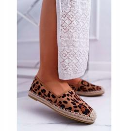 NFR Espadrilles Femme Slip-on Suede Leopard Jungle brun 1