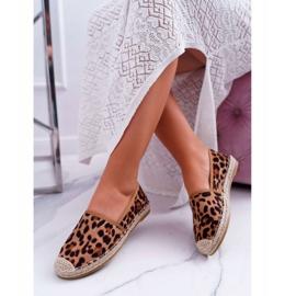 NFR Espadrilles Femme Slip-on Suede Leopard Jungle brun 3