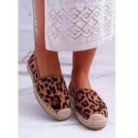 NFR Espadrilles Femme Slip-on Suede Leopard Jungle brun 2