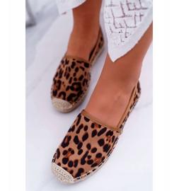 NFR Espadrilles Femme Slip-on Suede Leopard Jungle brun 4