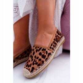 NFR Espadrilles Femme Slip-on Suede Leopard Jungle brun 5