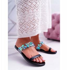 Chaussons pour femmes Lu Boo élégant avec zircone cubique noir élémentaire 1