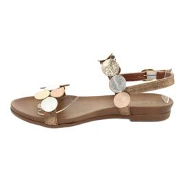 Sandales dorées Daszyński MR1958-1 brun argent 2