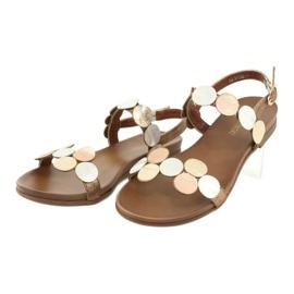 Sandales dorées Daszyński MR1958-1 brun argent 3