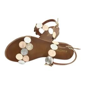 Sandales dorées Daszyński MR1958-1 brun argent 4