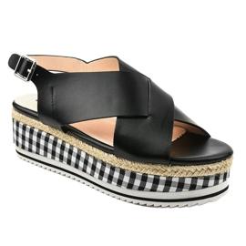 Sandales noires sur plateforme 1507-1 1