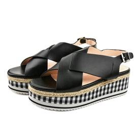 Sandales noires sur plateforme 1507-1 2